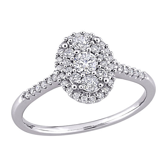 Womens 1/2 CT. T.W. Genuine White Diamond 10K White Gold Oval Engagement Ring