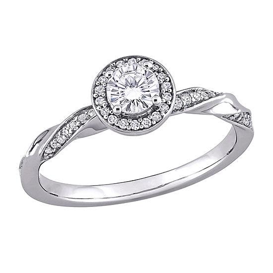 Womens 1/2 CT. T.W. Genuine White Diamond 10K White Gold Round Engagement Ring