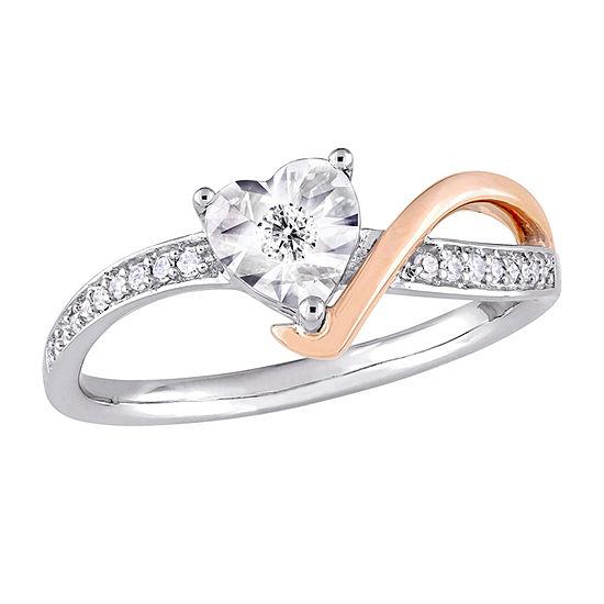 Womens 1/10 CT. T.W. Genuine White Diamond 10K Rose Gold Heart Engagement Ring