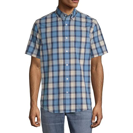 St. John's Bay Stretch Mens Short Sleeve Gingham Button-Front Shirt