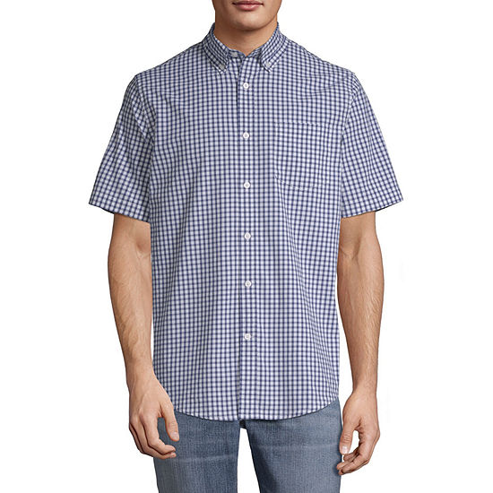 St. John's Bay Stretch Mens Short Sleeve Gingham Button-Front Shirt