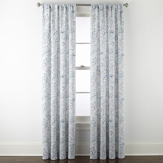 JCPenney Home Audrey Blue/ Coral Print Light-Filtering Rod-Pocket Set of 2 Curtain Panel