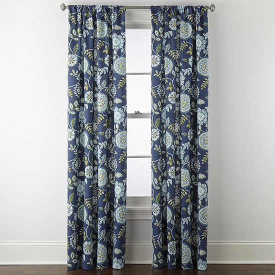 Home Expressions Floral Medallion Light-Filtering Rod-Pocket Set of 2 Curtain Panel