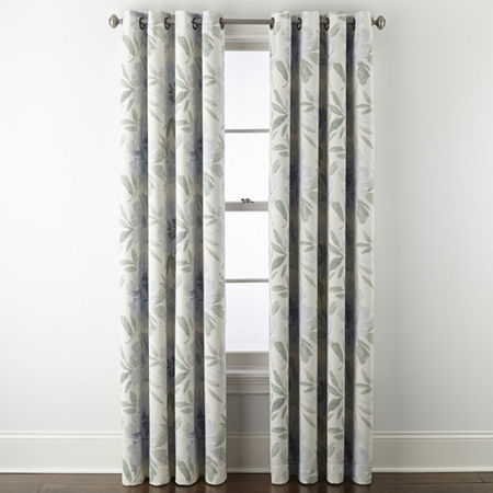 JCPenney Home Sullivan Floral Blooms Energy Saving Blackout Grommet-Top Single Curtain Panel, One Size , Blue