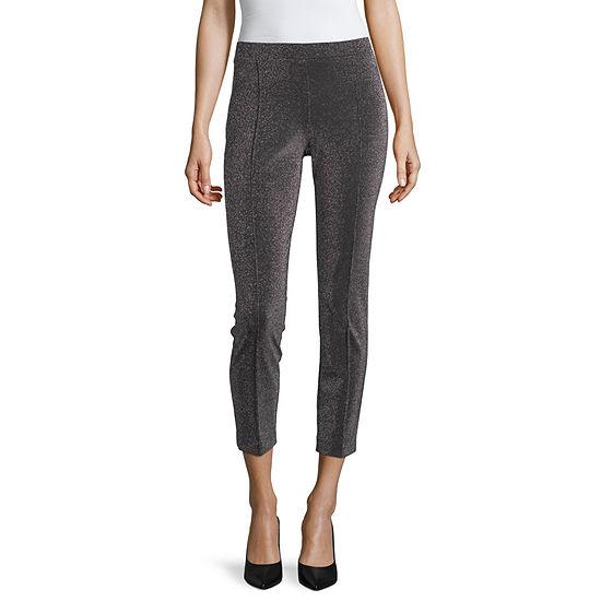 Worthington Womens Sparkle Ponte Straight Leg Pull-On Pants