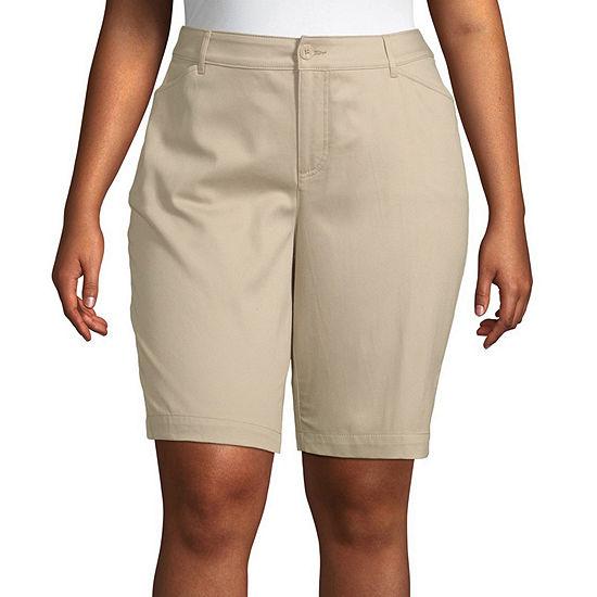 "St. John's Bay Womens Mid Rise 11 1/2"" Bermuda Short-Plus"