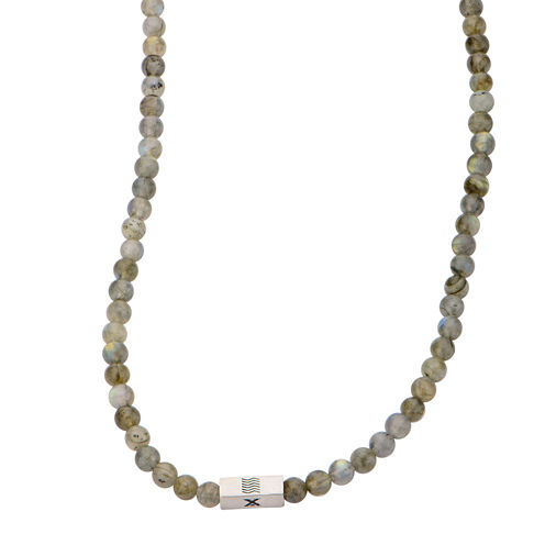 Mens Gray Labradorite Bead Stainless Steel Necklace