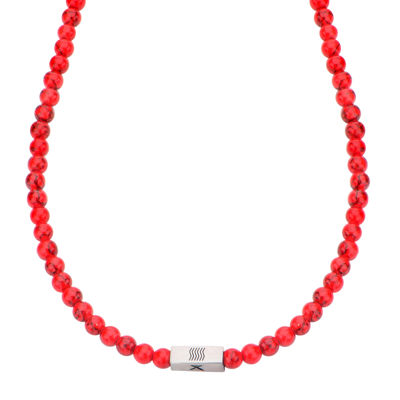 Mens Simulated Red Turquoise Bead Stainless Steel Necklace