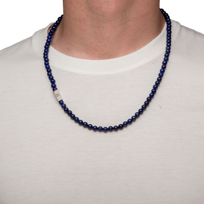Mens Blue Lapis Bead Stainless Steel Necklace