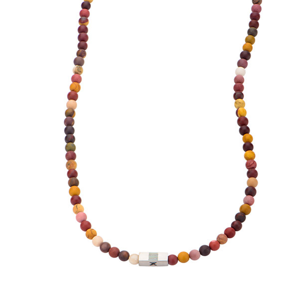 Mens Multicolor Bead Stainless Steel Necklace
