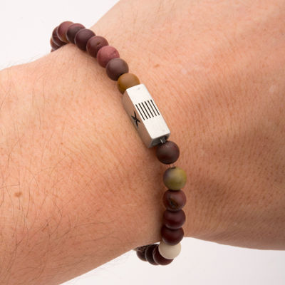 Mens Mookaite Jasper Bead Stainless Steel Stretch Bracelet