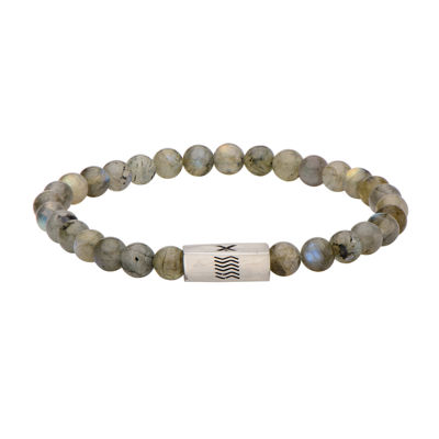 Mens Labradorite Stainless Steel Stretch Bracelet