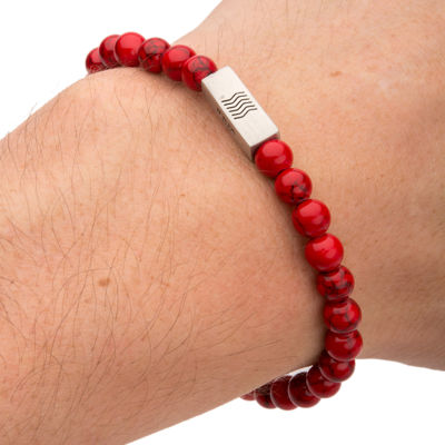 Mens Red Simulated Turquoise Stainless Steel Stretch Bracelet