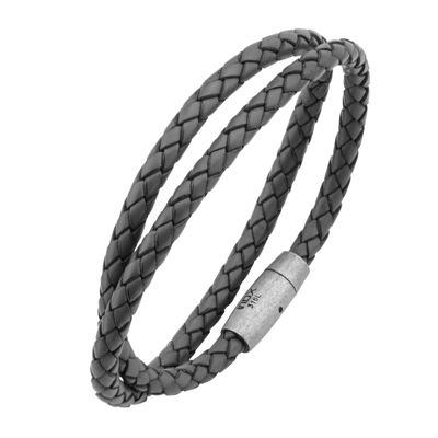Mens Gray Leather Double Braid Stainless Steel Bracelet
