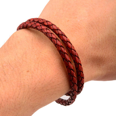Mens Leather Braid Wrap Stainless Steel Bracelet