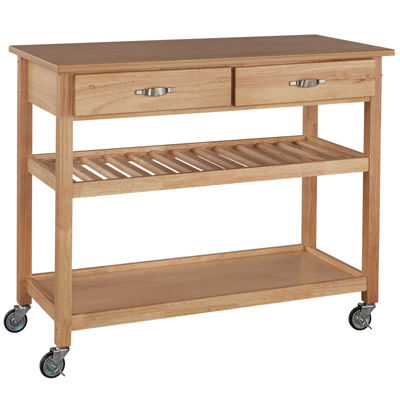 Wood Top Rolling Kitchen Cart with Towel Rack