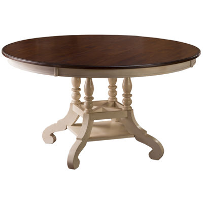 Tucker Hill Round Pine Dining Table with Dark-Finished Top