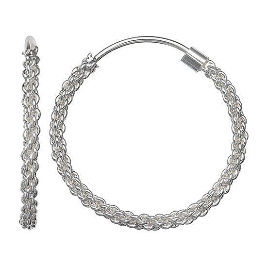 Silver Treasures Twist Rope Sterling Silver Hoop Earrings