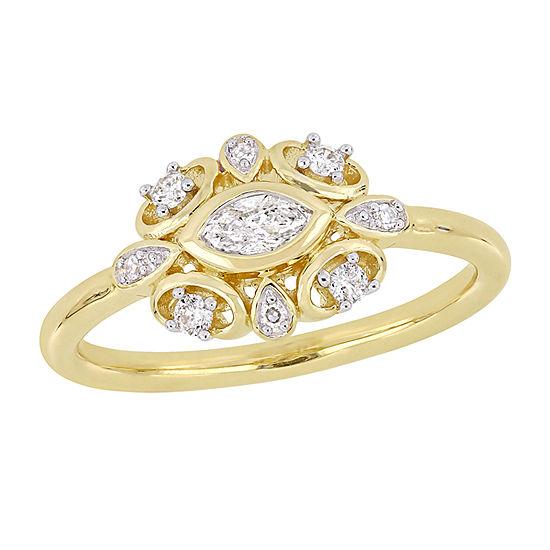 Womens 1/4 CT. T.W. Genuine White Diamond 10K Gold Engagement Ring