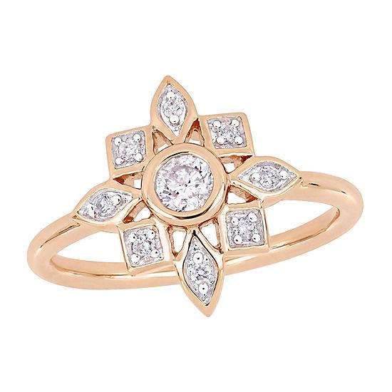 Womens 1/3 CT. T.W. Genuine White Diamond 10K Rose Gold Flower Engagement Ring