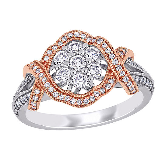 Womens 5/8 CT. T.W. Genuine White Diamond 10K Rose Gold Flower Engagement Ring