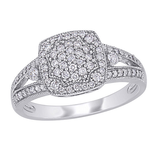Womens 1/3 CT. T.W. Genuine White Diamond 10K White Gold Engagement Ring