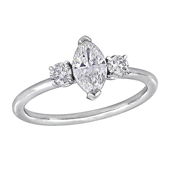 Marquise Cut Womens 1 CT. T.W. Genuine White Diamond 14K White Gold Engagement Ring