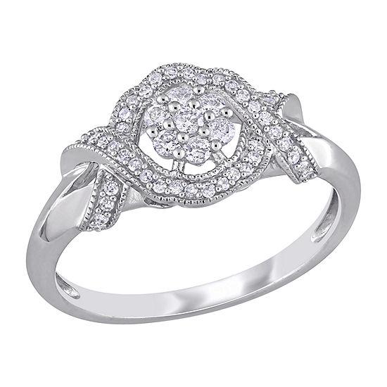 Womens 1/3 CT. T.W. Genuine White Diamond 10K White Gold Flower Engagement Ring