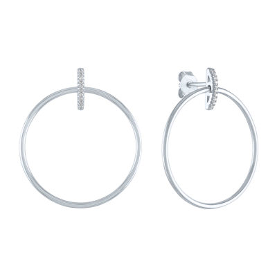 """""""Fearless"""" Diamond Accent Genuine Diamond Accent Sterling Silver Round Drop Earrings"""