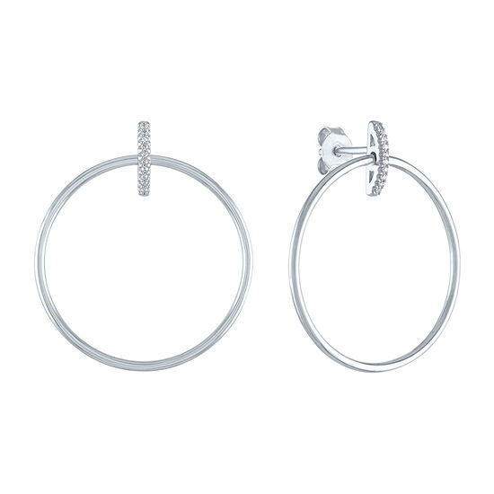 """Fearless"" Genuine Diamond Accent Sterling Silver Round Drop Earrings"