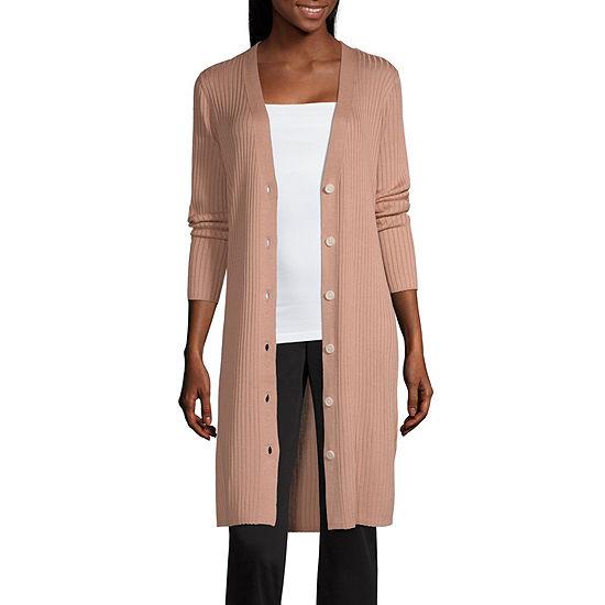 Worthington Womens Long Sleeve Open Front Cardigan