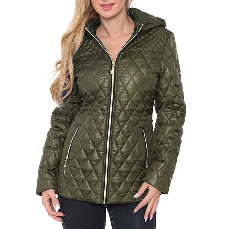 White Mark Hooded Midweight Puffer Jacket, Small , Green