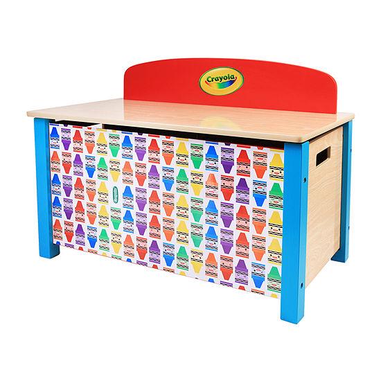 Crayola Kids Wooden Toy Storage Chest 1-Cubby Toy Organizer-Painted