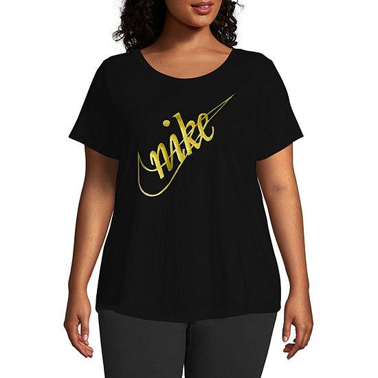 Nike Plus-Womens Round Neck Short Sleeve T-Shirt