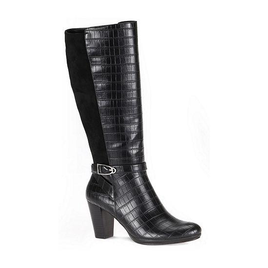 Andrew Geller Womens Kora Block Heel Dress Boots