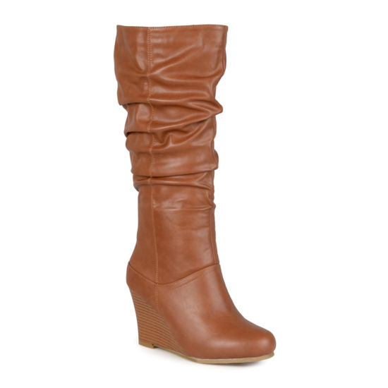 Journee Collection Hana Wide Calf Womens Slouch Wedge Heel Boots