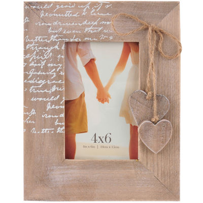 "Burnes of Boston® Heart Embellishment 4x6"" Picture Frame"