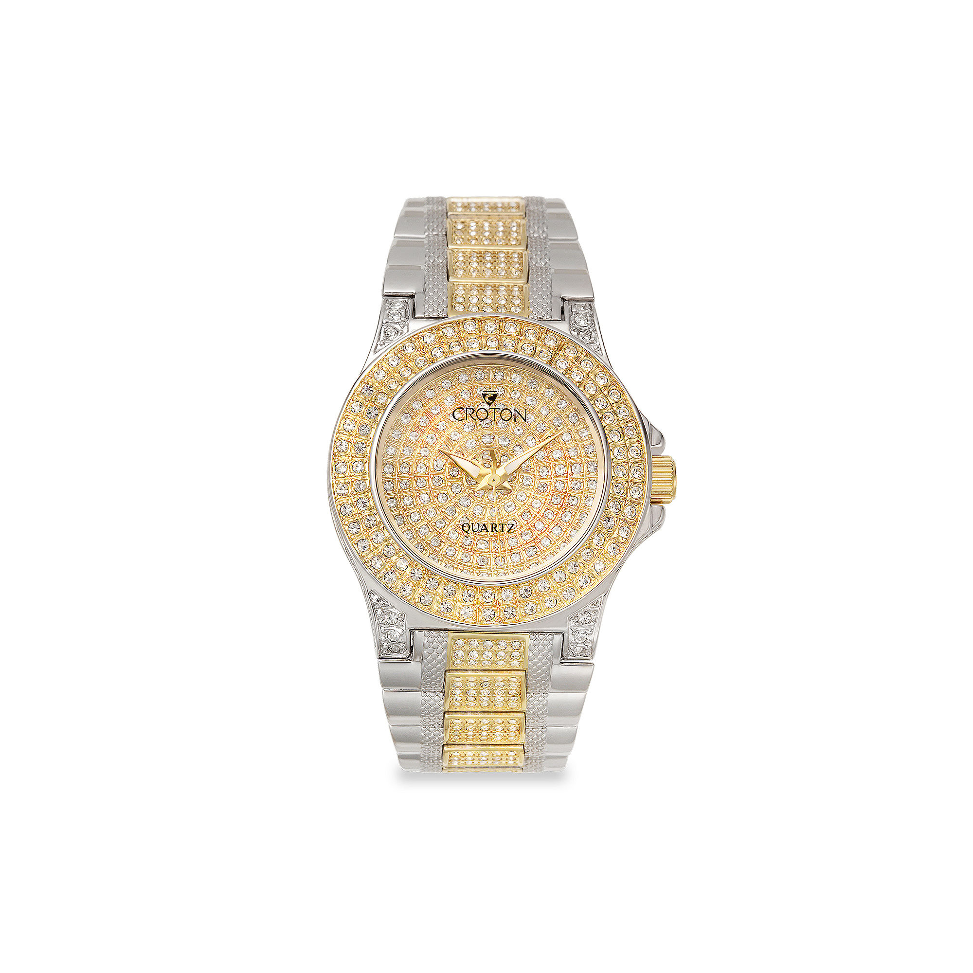 Croton Womens Crystal-Accent Two-Tone Stainless Steel Bracelet Watch