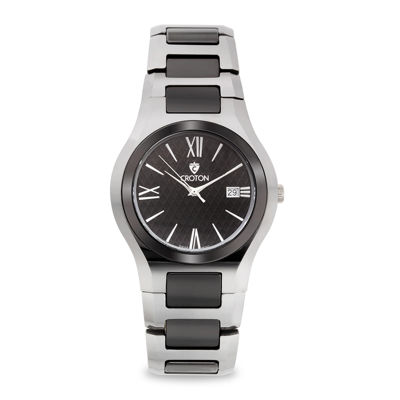 Croton Mens Black Ceramic Stainless Steel Watch
