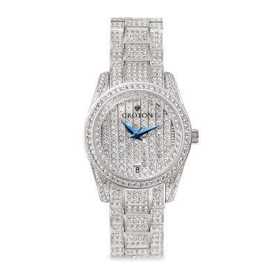 Croton Mens Crystal-Accent Stainless Steel Watch