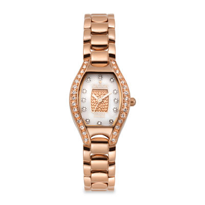 Croton Womens Diamond-Accent Rose Gold-Tone Stainless Steel Watch