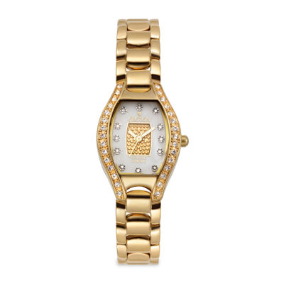 Croton Womens Diamond-Accent Gold-Tone Stainless Steel Watch
