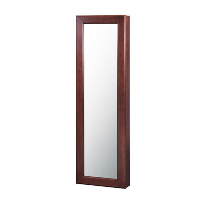 Brown Wall Mounted Mirror Jewelry Armoire