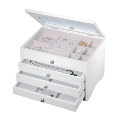 White Glass Top 3-Drawer Jewelry Box