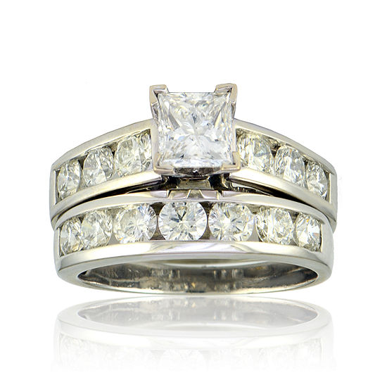 Limited Quantities 3 Ct Tw Diamond 14k White Gold Bridal Ring Set