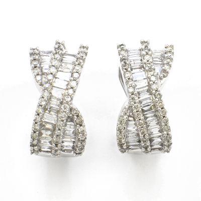 LIMITED QUANTITIES 1 CT. T.W. Diamond 14K White Gold Hoop Earrings