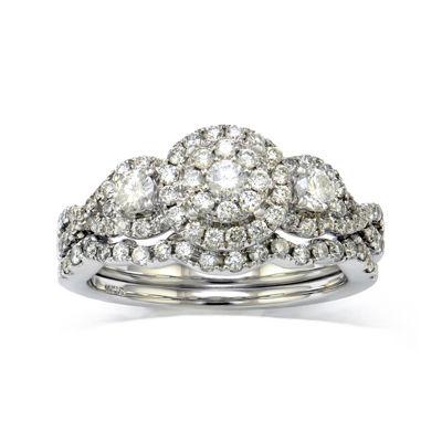 LIMITED QUANTITIES 1 CT. T.W. Diamond 10K White Gold Bridal Ring Set