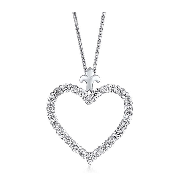 LIMITED QUANTITIES 1/2 CT. T.W. Diamond 14K White Gold Heart Pendant Necklace