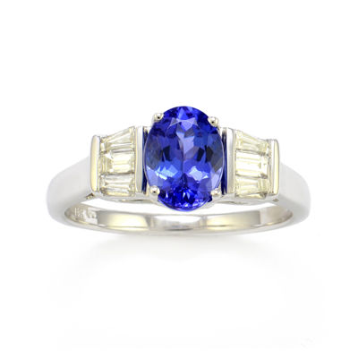 LIMITED QUANTITIES  Tanzanite and Diamond 14K White Gold Ring