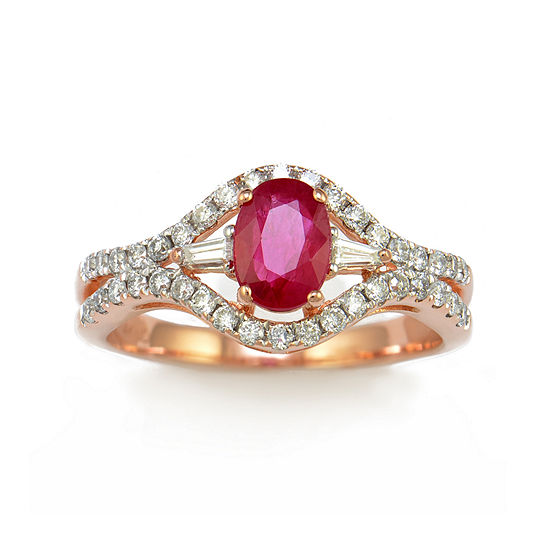 LIMITED QUANTITIES  Lab-Created Ruby and Diamond 14K Rose Gold Ring